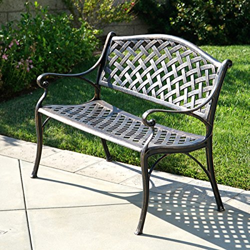 Cast Aluminum Patio Furniture Heart Pattern: Belleze Outdoor Patio Furniture Garden Bench Cast Aluminum