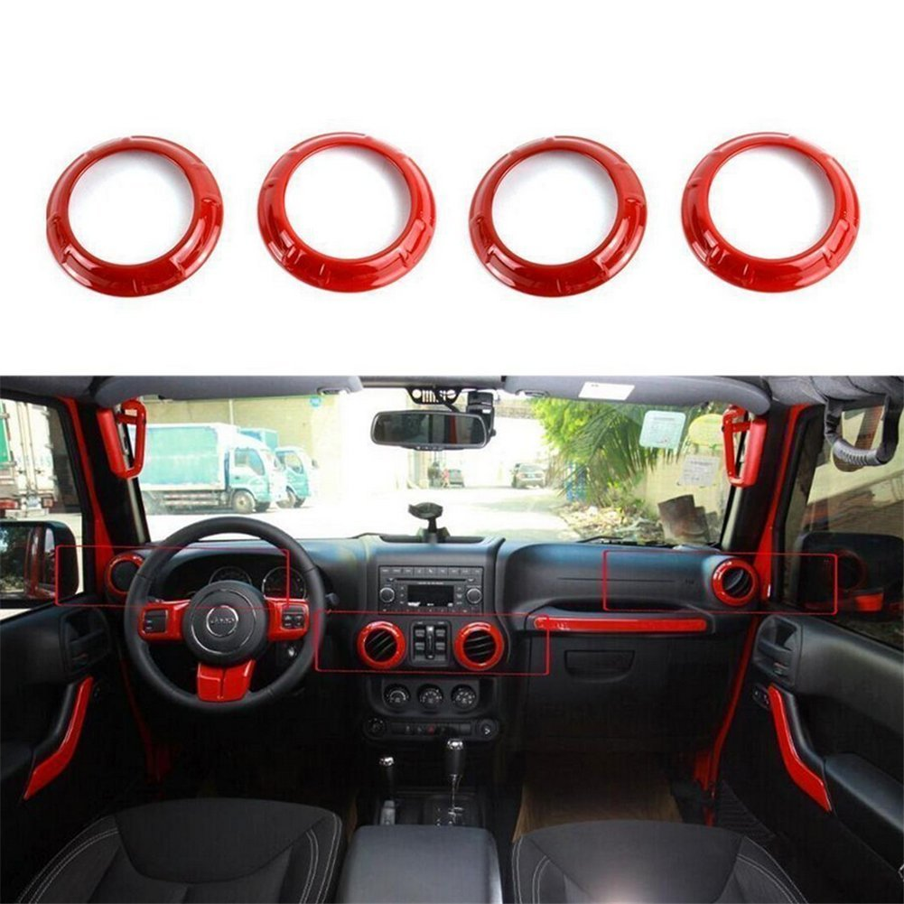 Bevis David 4Pcs Inner Air Condition Vent Outlet Cover Trim Black Fit For Jeep Wrangler 2011-2016