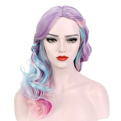 STfantasy Peluca mujer rainbow unicornio Ondulado Onda rizado Ombre lila rosa wig para uso diario carnaval