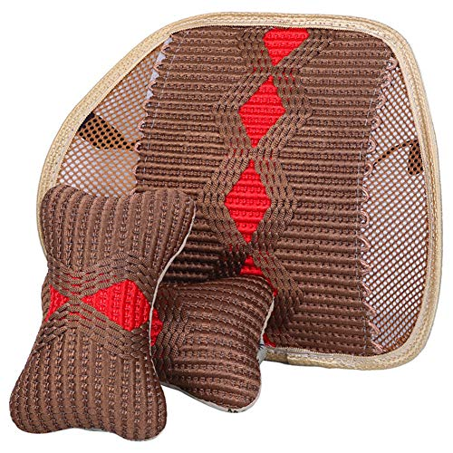 Braided Car Lumbar Support Neck Pillow Kit Breathable 5.2mm Steel Wire Support with Elasticated Positioning Strap