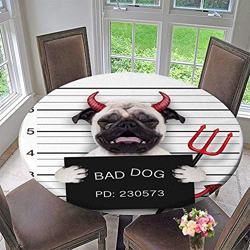PINAFORE HOME Round Table Tablecloth Halloween Devil Pug Dog cry in a Mugshot Caught on withcamera for Wedding Restaurant Party 67