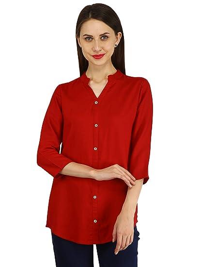 10fd324ace2857 CYNCA Pink Plain   Printed Rayon Shirt Style Stitched Women s Cotton Kurti