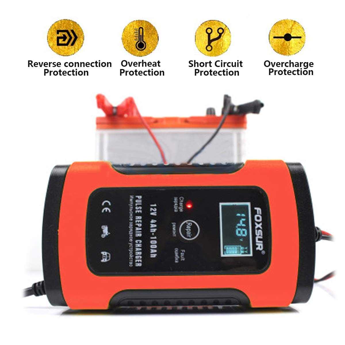 TSEIPOAOI Car Battery Charger Maintainer 5 Amp LCD 12V Car Cars Truck Motorcycle household toy cars agricultural vehicles,EU Plug