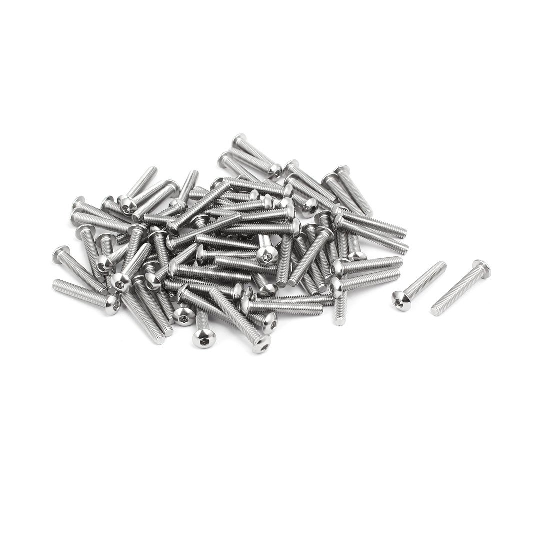 uxcell M4x25mm 304 Stainless Steel Button Head Hex Socket Cap Screws Bolts 80pcs a17022100ux0017