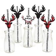 Prancing Plaid Paper Straw Decor - Christmas & Holiday Buffalo Plaid Party Striped Decorative Straws - Set of 24