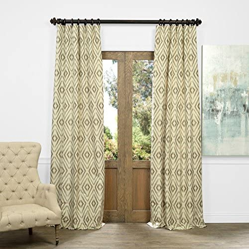 HPD Half Price Drapes JQCH-AS225092-96 Maui Faux Silk Jacquard Curtain 1 Panel