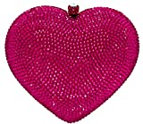 Celebrating You Heart Shaped Formal Evening Bag Wedding Party Crystal Bridal Clutch Pave' Minaudiere Pink