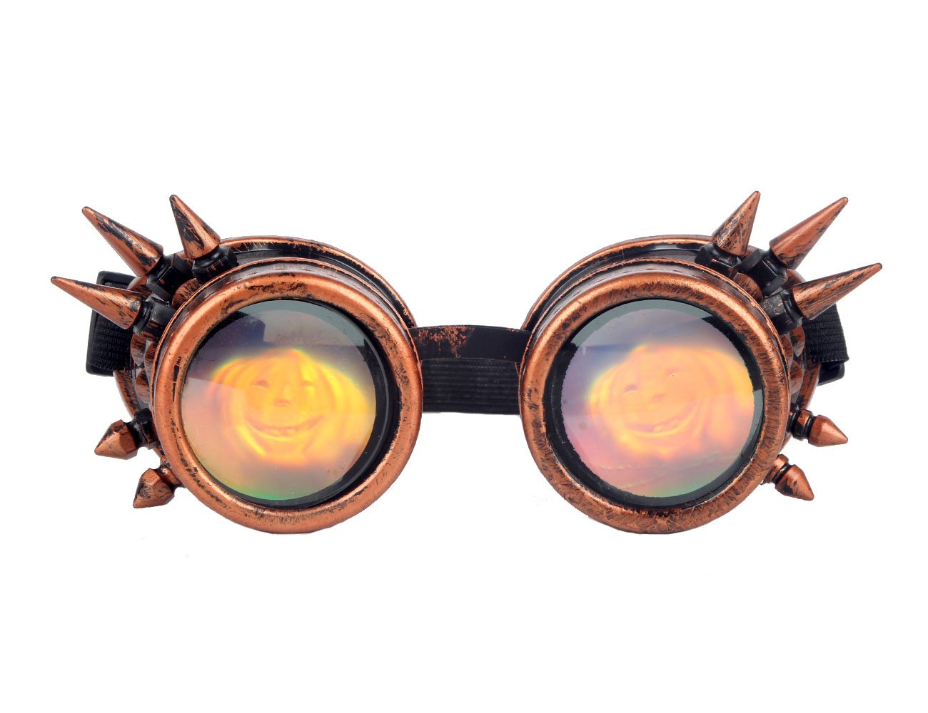 Kaleidoscope Rave Rainbow Crystal Lenses Steampunk Goggles Spike Halloween (One Size-Adjustable head band, Red Copper-cushaw Lens)