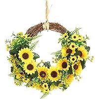 Sunflower Decor Door Wreath Hanging Garland Artificial Flowers Green Leaves Sunflowers for Garden Decoration