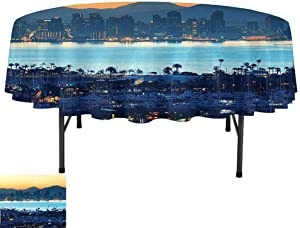 Water Resistant Tablecloths, D59 Inch Table Cover for Parties, Apartment Decor Collection San Diego at Sunrise in Harbor Waterfront Cityscape Business District Scenic View Cream Navy Blue