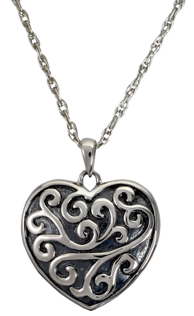 Memorial Gallery MG-3316s Scrollwork Filigree Heart Sterling Silver Cremation Pet Jewelry