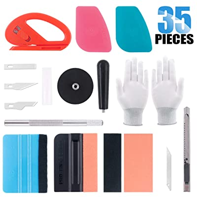 Glarks 35Pcs Car Window Tint Film Tool Kit Vinyl Wrap Tool Inluding Felt Squeegee with Spare Fabric Felts, Vinyl Magnet Holder, Snitty Vinyl Cutter, Utility Knife, Carving Knife and Blades, Gloves: Automotive