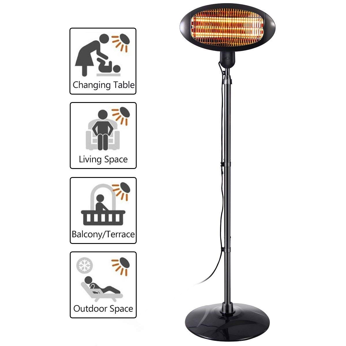 COSTWAY Electric Patio Heater, 2KW Freestanding Quartz Patio Heaters with Adjustable Height - 3 Heat Settings, Waterproof IPX4 Garden Heater for Indoor Outdoor