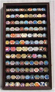 product image for flag connections Lockable Military Challenge Coin Display Case Cabinet Rack Holder, Lockable - Mahogany Finish