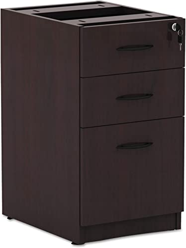 Alera Valencia Series 16 by 22 by 28-Inch 2 Box and 1 File Drawer Full Pedestal, Mahogany