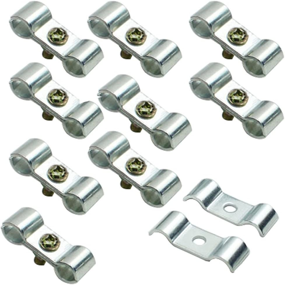 12mm Mike Home Kennel Clamps Shelf Pole Connector Double Port Pipe Clamps Clips 12mm//0.47 Set of 10