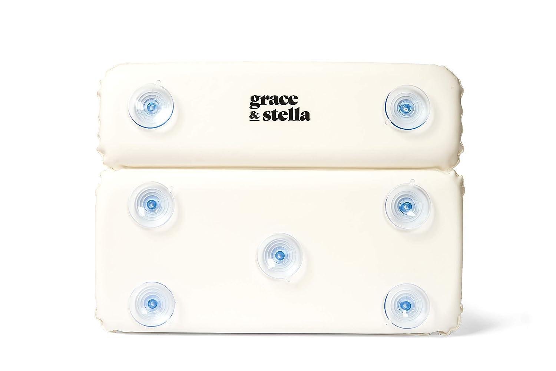 SPA en casa Grace /& Stella Almohada de ba/ño Dise/ño de 2 Paneles para Soporte de Hombro y Cuello Ideal para Jacuzzi con ventosas