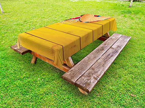 Lunarable Mexican Outdoor Tablecloth, Ancient Ceremonial Folk Objects of Rituals on Timber Surface Native Mayan Image, Decorative Washable Picnic Table Cloth, 58 X 84 Inches, Yellow Green