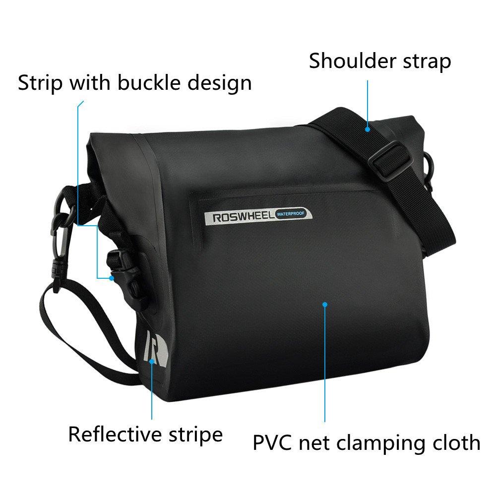 allnice Bike Handlebar Bag Waterproof 3L Mountain Road MTB Bike Cycling Bicycle Top Tube Handlebar Bag Front Frame PVC Bag Roll Top Design Front Pannier Basket Bag by allnice (Image #3)