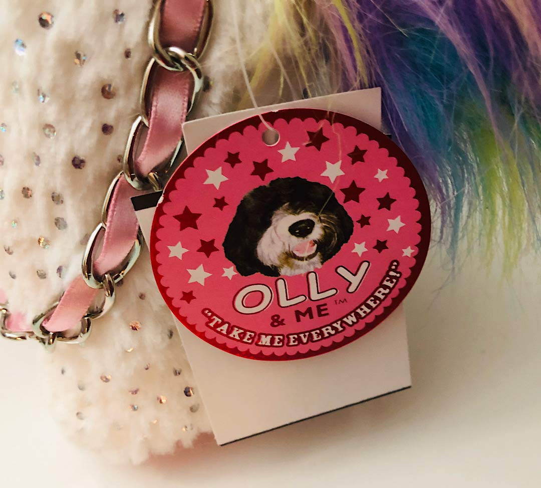 OLLY /& ME by Toby /& Company White//Rainbow /& Holographic Dots Unicorn with Chain Stuffed Toy Purse Bag Take me Everywhere!