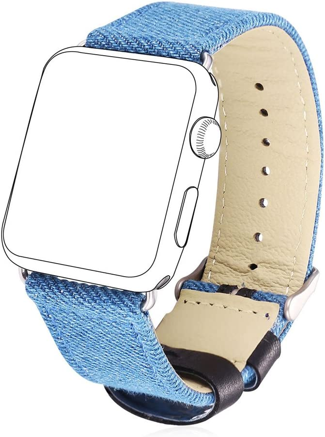 Bandmax Fabric Replacement Strap Compatible Apple Watch, Stainless Steel Metal Buckle Comfortable Denim Fabric Watch Band Compatible Apple Watch Series 5/4/3/2/1 All Version(Denim Blue 42MM/44MM)