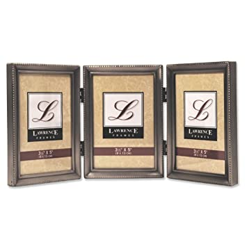 lawrence frames antique pewter hinged triple 3x5 picture frame beaded edge design