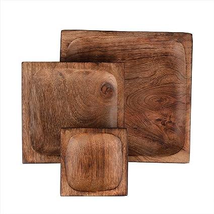 Store Indya,, conjunto hecho a mano de 3 bandejas de bandeja de madera para