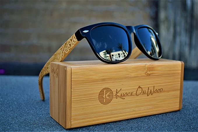 e1e335e02739 Koa Wood - Wayfarer Bamboo Sunglasses Polarized Lenses By Knock On Wood -  Tribal Design (Black  Amazon.in  Clothing   Accessories