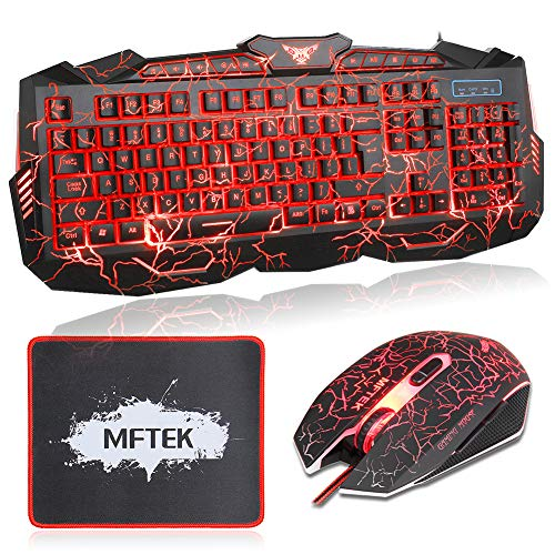 MFTEK Gaming Keyboard and Mouse Combo, Crack 3 Colors LED Backlit USB Wired Keyboard, Programmable 7 Button Lighted Gaming Mouse +Mouse Pad for Computer PC Gamer