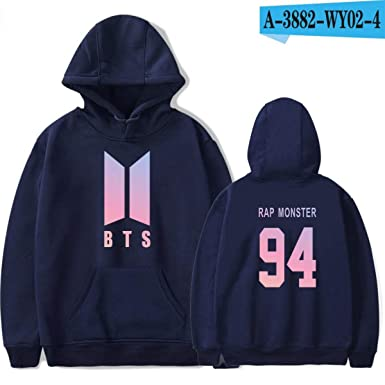 Hoodies for Women Bangtan Boys Sweatshirt Women Hoodies Love Yourself Pullovers Navy Blue