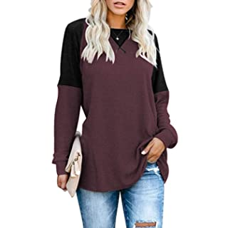 Sarin Mathews Womens Tops Fall Casual Long Sleeve Shirts Round Neck Loose Fit Color Block Tunic Tops Blouses