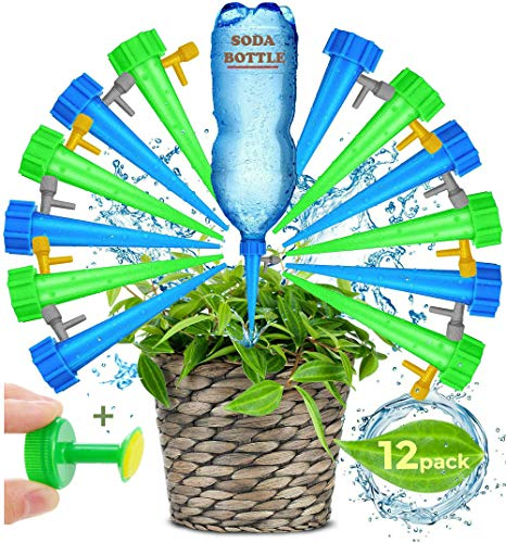 Adjustable Self Watering Spikes.Indoor Outdoor Plastic Bottle Garden Plants Drip Irrigation Spike System. Works as Watering Bulbs or Globes Stakes with Screw Valve