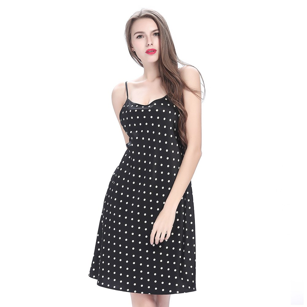 LILYSILK 19 Momme Short Silk Nightgown with White Dots Black XXL 2191