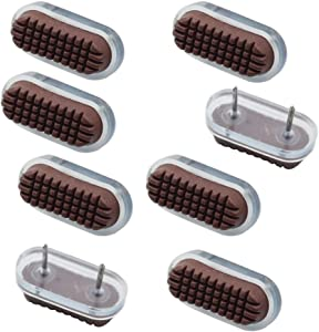 Mike Home Table Chair Leg Floor Pad Skid Slide DIY Nail Protector,2 Nail,Oval,20 Piece (Transparent + Brown)