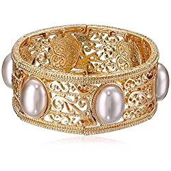 1928 Jewelry Gold-Tone Grey Simulated Pearl Stretch Bracelet, 2.5""