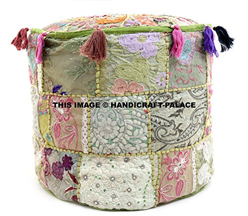 HANDICRAFT-PALACE Indian Traditional Cotton Round Ottoman Cushion Pouffe Cover/Bohemian Handmade Patchwork Floor Footstool for Sofa Couch/Vintage Ethnic Kantha Designer Embroidery Tassel Hassock