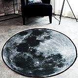 SYROVIA Grey Moon Round Area Rug 2' in Diameter