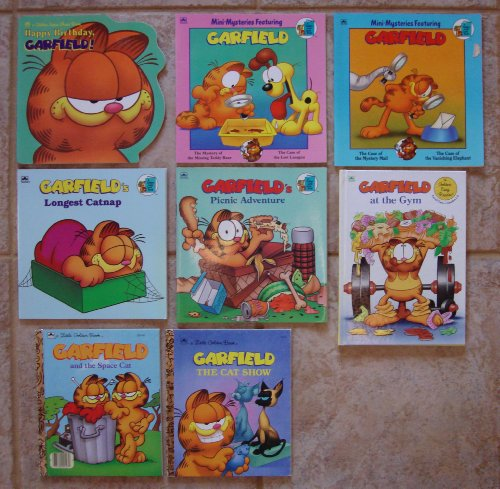Garfield the Cat: Set of 8 Picture Books (Garfield at the Gym ~ Garfield's Picnic Adventure ~ Garfield's Longest Catnip ~ Happy Birthday Garfield ~ Garfield and Space Cat ~ Garfield the Cat Show ~ Mini-Mysteries: Mystery Mail/Case of the Vanishing Elephant and Missing Teddy Bear/Lost Lasagna) ()