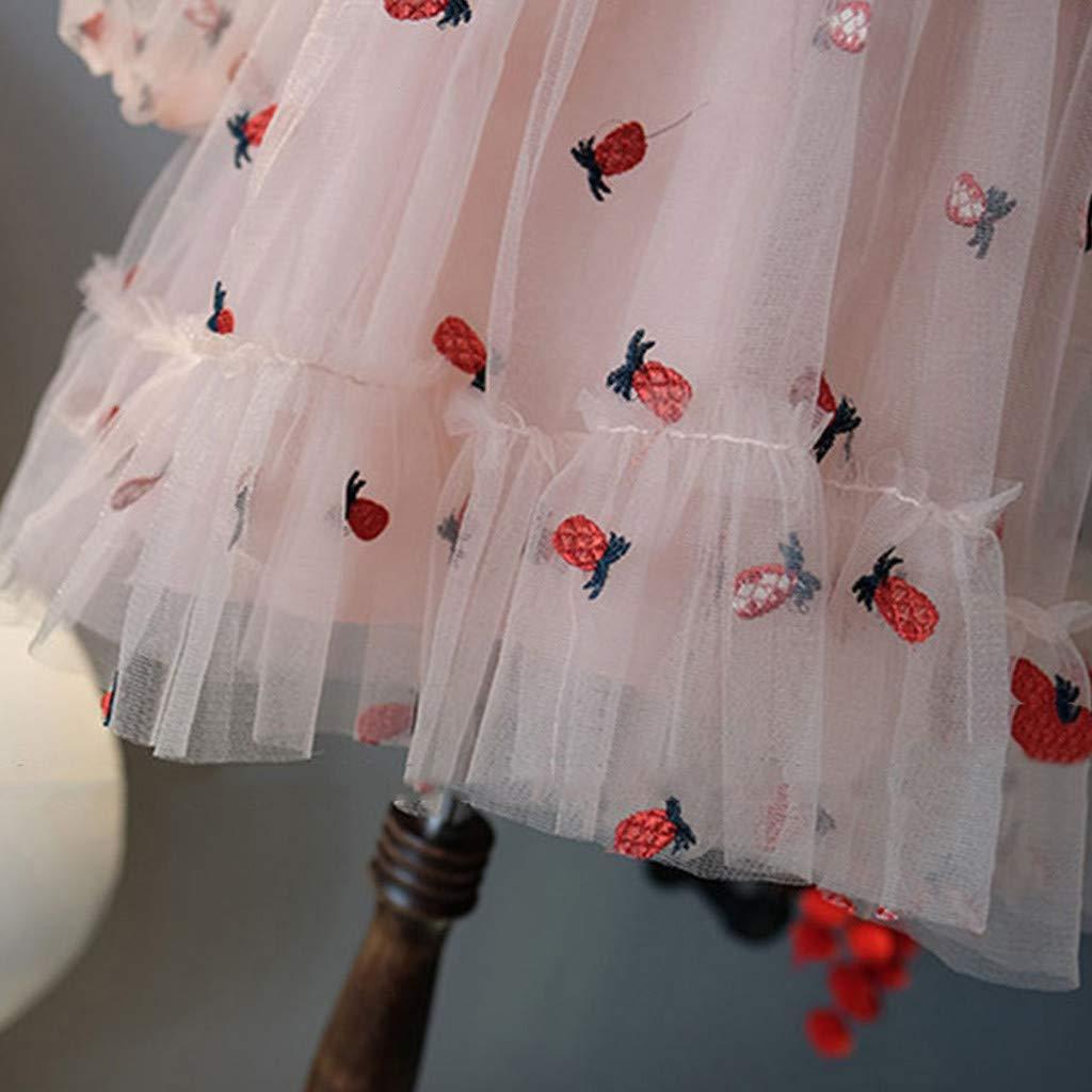Baby Girls Mesh Dress GorNorriss Long Sleeve Pineapple Embroidery Flower Skirt Princess Dress