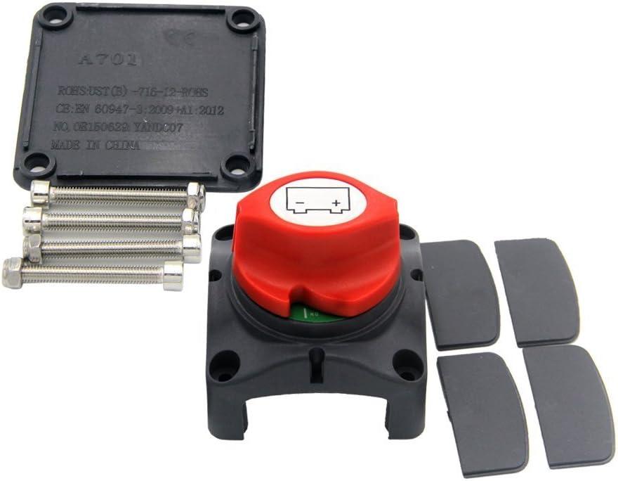 RKURCK Interrupteur de batterie Marche//Arr/êt Disconnect Isolateur Master Cut Off Kill Switch pour voiture ATV bateau 275//1250 Amps /Étanche caravane