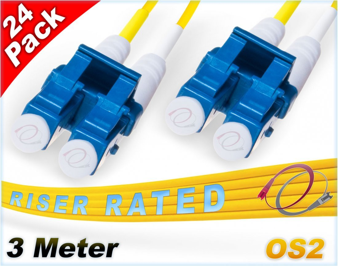 FiberCablesDirect 24Pk 3M OS2 LC LC Single Mode Fiber Patch Cables - 24 Pack | Duplex 9/125 LC to LC Singlemode Jumper Cord 3 Meter (9.84ft) | Pack Options: 2, 4, 6, 10, 12, 24 | smf patch-cord lc-lc