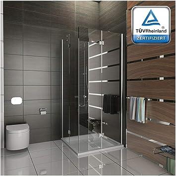 Mampara de cristal 80 x 200 cm entrada por la esquina ducha de vidrio x 200 cm/Alpes Berger/modelo Quadri transparente plegable puerta easyclea puertas: Amazon.es: Bricolaje y herramientas
