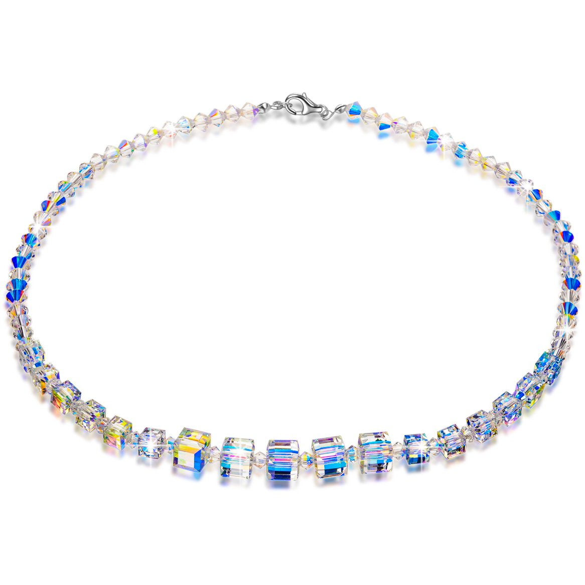 LADY COLOUR Crystal Necklace A Little Romance Series Strand Necklace for Women 16.5