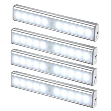 JESWELL Recargable Luz Armario con Interruptor, Lámpara USB LED Barra de Luz LED Nocturna Inalámbrica