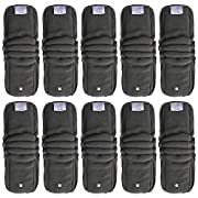 EcoAble Baby Charcoal Bamboo Snap-in Inserts with Anti-Leak Gussets for Ai2 Cloth Diapers & Covers (10-pack)