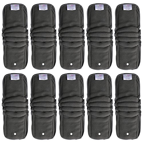 EcoAble Baby Charcoal Bamboo Snap-in Inserts with Anti-Leak Gussets for Ai2 Cloth Diapers & Covers (10-pack) - Hemp Prefold Diapers