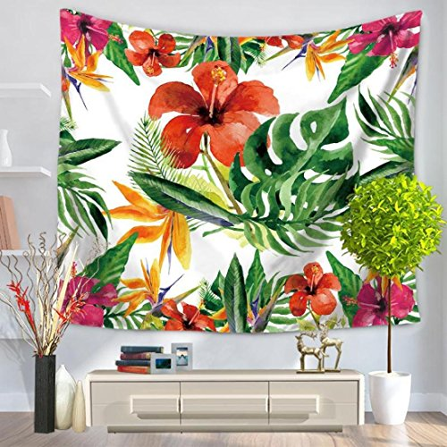 Tropical Flowers Green Leaf Tapestry, Fashion design, Unpara Wall Furniture Bedspreads Shower Curtains for Home Decor (B)
