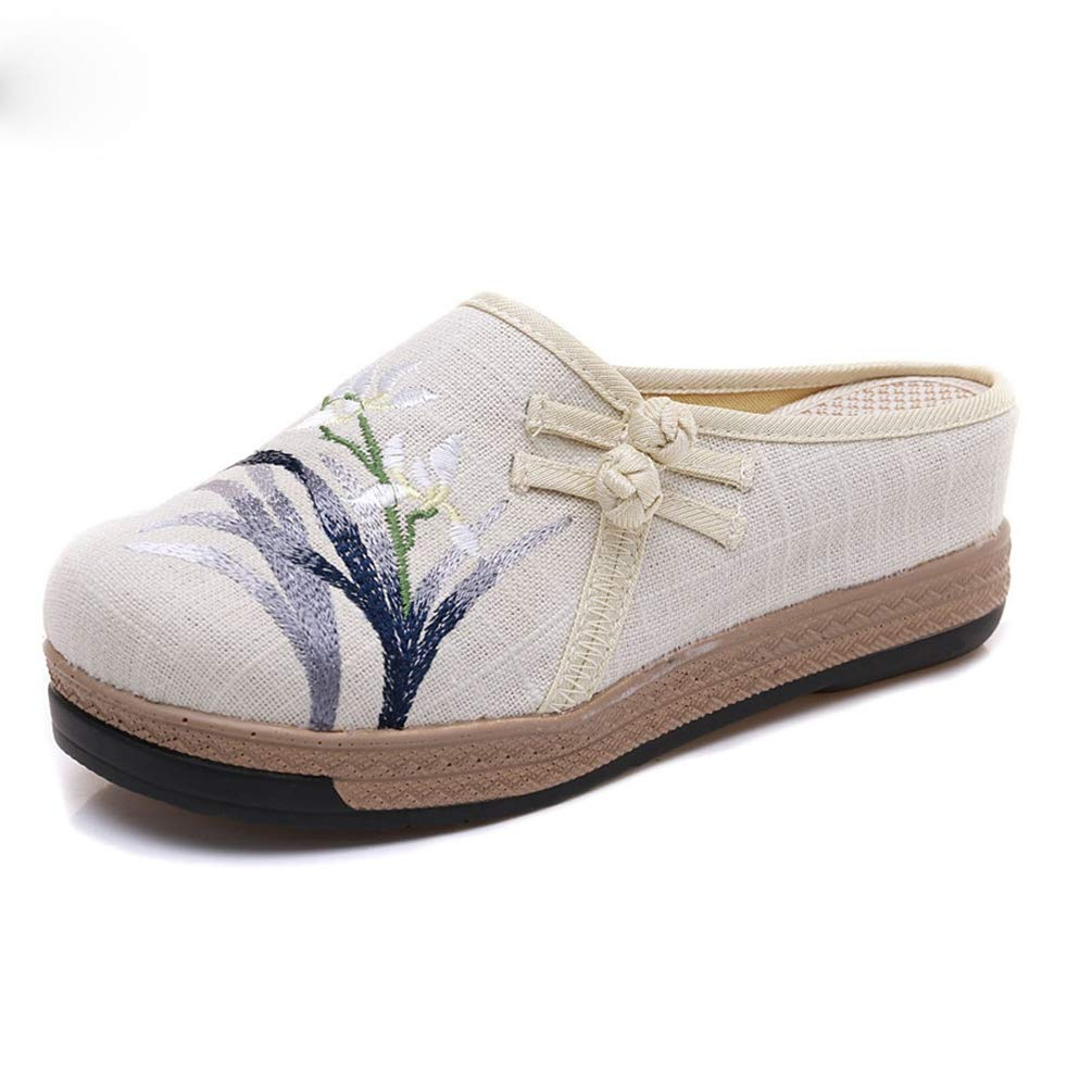 Women High Heel Bamboo Embroidered Line Cotton Wedges Slippers Ladies Platform Slippers