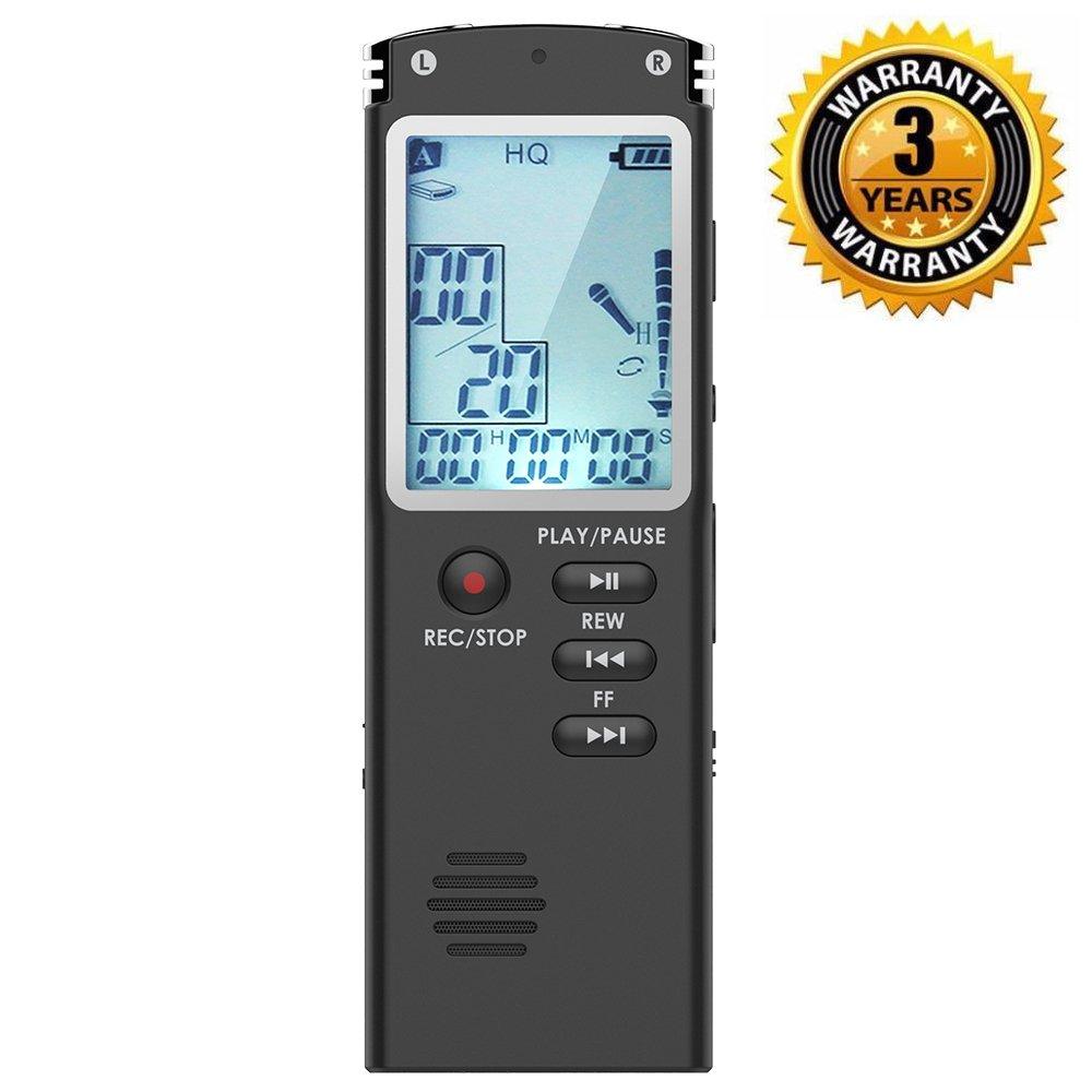 Enregistreur vocal numérique, DREAMRY 8GB 1536Kbps USB Audio Enregistreur audio Enregistrement HD portable multifonctionnel Double Microphone Rechargeable Dictaphone Annulation/Voix activée/écran V1