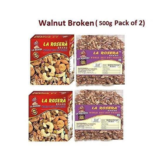 La Rosera Light Broken Walnuts (Akhrot) 1Kg (500gm x 2)-Without Shell.